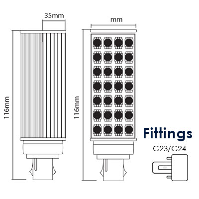 5W LED G23/G24 Light-Diagram thumb